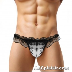 G-String dentelle dos ouvert avec poche de sexe pour homme