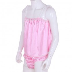 Chemise de nuit et culotte rose pour homme féminin