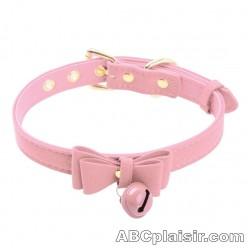 Collier pets-play clochette rose
