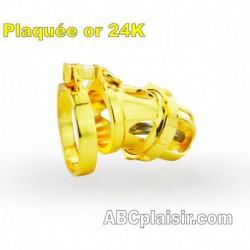 Cage de chasteté plaquée OR avec plug urètre amovible Ring 48mm