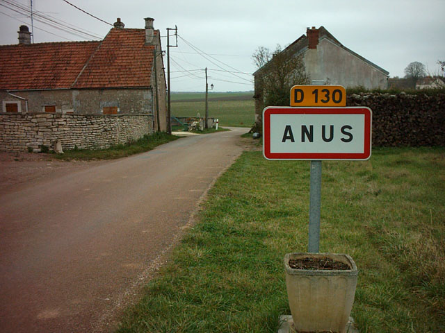 """Image d'une ville avec le panneau d'entrée. Nom de la ville """"ANUS"""""""